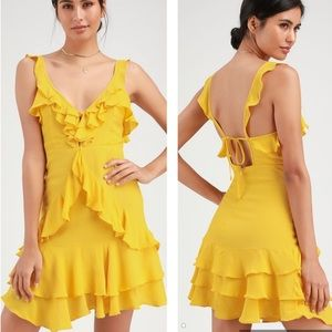 Lulu's Carmela Yellow Ruffle Mini Dress Size XS